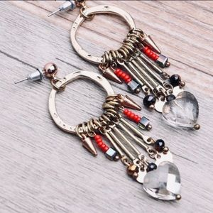 Bohemian tribal charm beaded dangle earrings